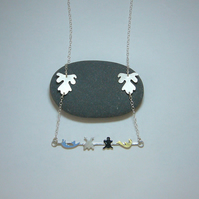 Sterling silver, brass & enamel bar necklace
