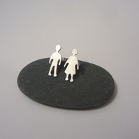 Silver children stud earrings