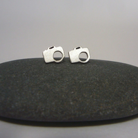 Silver camera earrings