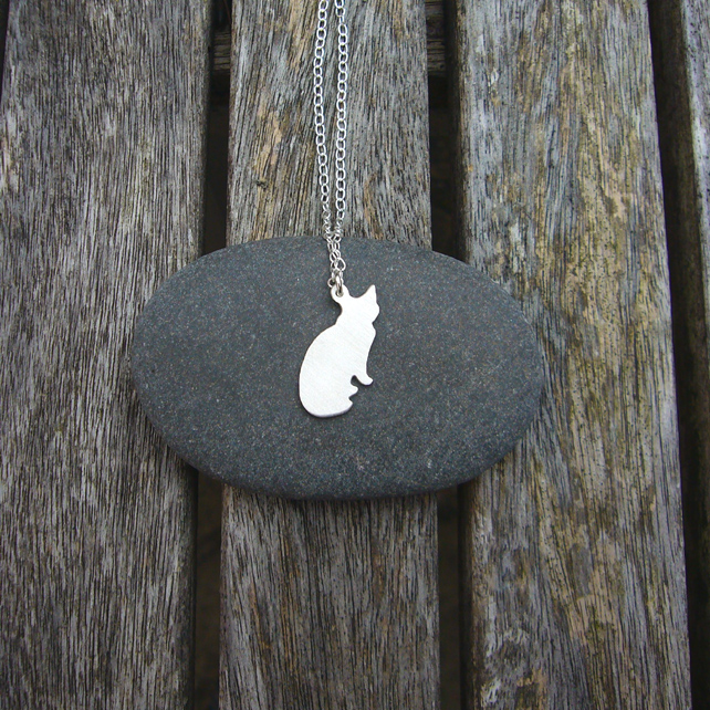 Cat necklace, animal jewellery, cat lover's gift, silver animal jewellery