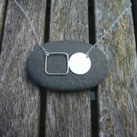Circle disk & square necklace, modern jewellery, geometric jewellery