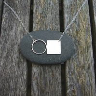 Circle & silver square necklace, geometric jewellery, wire jewellery