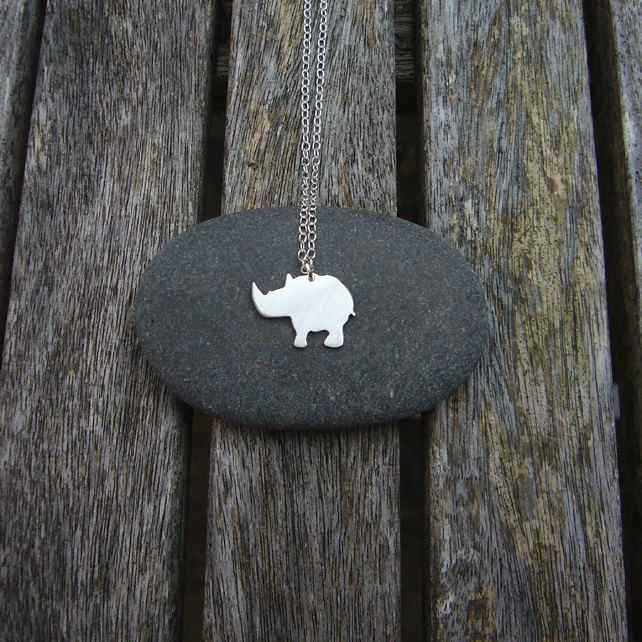 Rhino necklace, animal jewellery, animal gifts