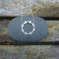Sterling silver round necklace, geometric jewellery, everyday necklace