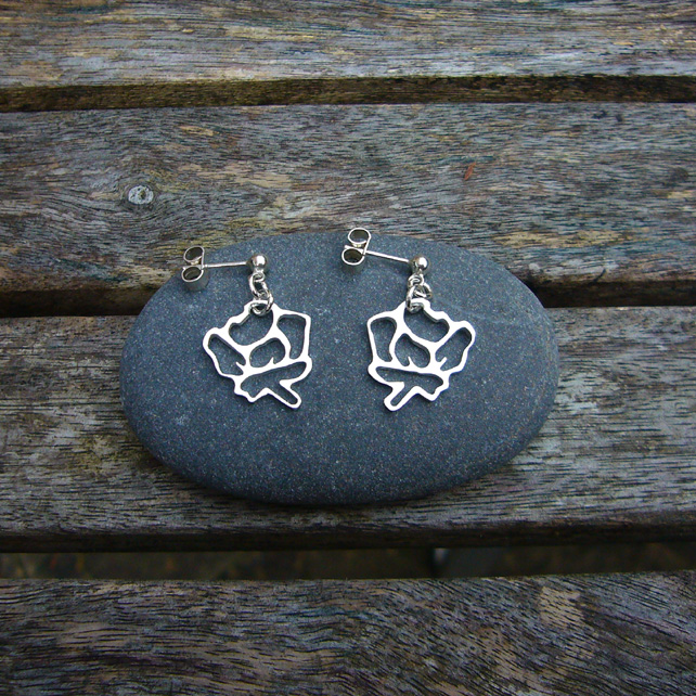 Sterling silver flower stencil earrings