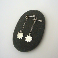 Silver star drop earrings