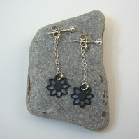 Oxidised flower drop earrings