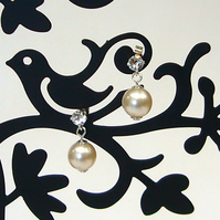 Pearl & crystal earrings, bridesmaid gift, drop earrings, Swarovski crystal