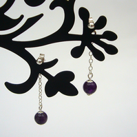 Amethyst drop earrings, bead earrings, drop earrings, chain earrings