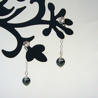 Haematite and crystal drop earrings