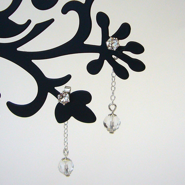 Clear crystal drop earrings, Swarovski crystal earrings