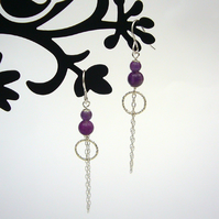 Amethyst and chain drop earrings, dangle earrings, amethyst