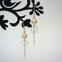 Pearl, crystal and chain drop earrings, bridesmaid gift, bead earrings