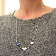 Unique sterling silver winking face necklace, modern jewellery, unusual gifts