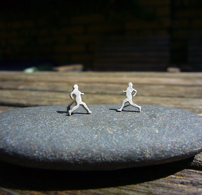 Silver runner earrings