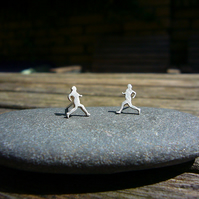 Silver runner earrings, everyday earrings, sterling silver earrings