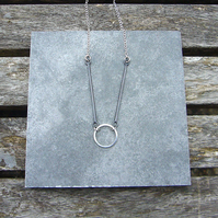 Sterling silver circle & wire short drop necklace, geometric jewellery