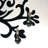 Black bead & crystal earrings, drop earrings, everyday earrings