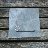 Sterling silver circle and wire necklace; silver wire necklace