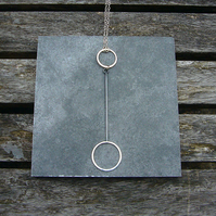 Sterling silver circle & wire drop necklace