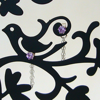 violet crystal chain earrings