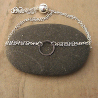 Small oxidised silver circle bracelet