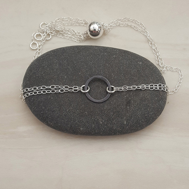 Small black & silver circle bracelet, dainty bracelet, adjustable bracelet