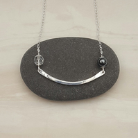 Curved silver bar necklace with beads, wire jewellery, gift for her