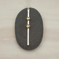 Silver & brass bar drop pendant, pendant necklace, brass jewellery