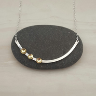 Curved silver bar necklace with brass, modern necklace, brass jewellery