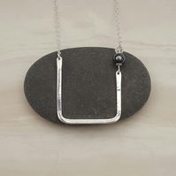 Silver bar necklace with beads, geometric necklace, wire pendant