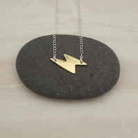 Lightning necklace, brass necklace, fun jewellery, lightning jewellery
