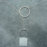 Sterling silver lariat necklace, geometric necklace, minimalist jewellery