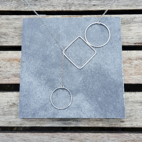 Circle & square lariat necklace, wire jewellery, geometric necklace