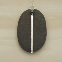 Silver bar & bead drop pendant, bar necklace, modern pendant