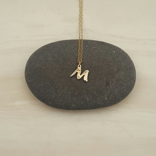 9ct gold & sterling silver letter necklace, initial jewellery, birthday gift