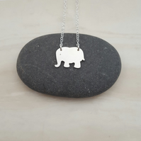 Sterling silver elephant necklace, animal gift, animal jewellery