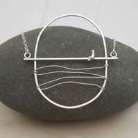 Unique wire necklace, oval necklace, pendant, unusual jewellery
