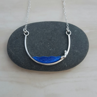 Silver & enamel necklace, wire necklace, unique jewellery, enamel pendant