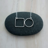 Circle & square necklace, wire jewellery, geometric jewellery