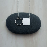 Circle & silver square necklace, delicate necklace, birthday gift