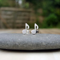 Silver quaver earrings, musical notes, stud earrings, gifts for music lovers