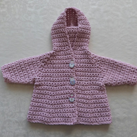 Beautiful baby girl hooded coat in pink recycled cotton. 0-6 months