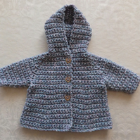 Baby girl hooded coat in pastel blue pink grey merino. 0-3-6 months