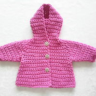 Baby girl hooded coat in bright pink cotton chunky. 0-3-6 months