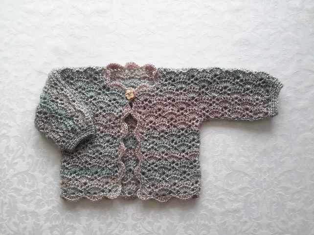 Baby girl lace cardigan sweater jacket in luxury wool with gold sparkle.  0-6 mo