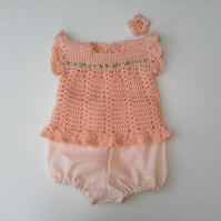 Gorgeous baby girl lace sun dress in fine silky cotton with bloomers.  Appr. 6 m