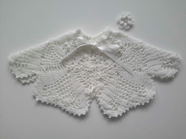 Exquisite baby girl white lace cape in pure white fine merino woo.  0-6 months