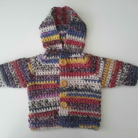 Stunning cotton and wool baby hoodie jacket. 0-6 months
