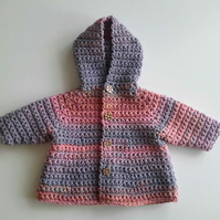 Cotton chunky baby girl hooded coat in sunset pink colours. 0-6 months